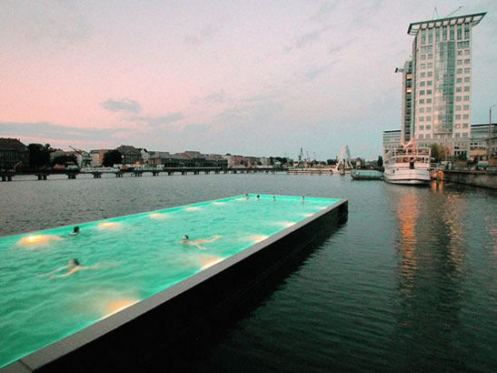Badeschif Berlin - a floating swimming pool built on river Spree.