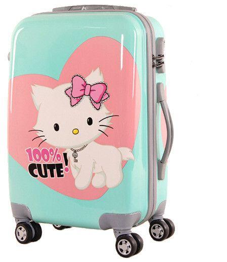 Cute Luggage with Wheels | Waterproof Custom PC 4 Wheeled Luggage Trolley Candy Cute Painting 20 ...