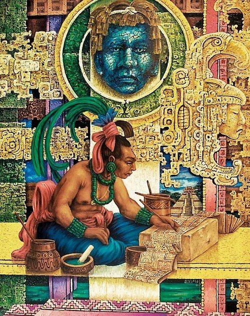 tolteka:  Mayan Scribe - artwork by Alfredo Vivero