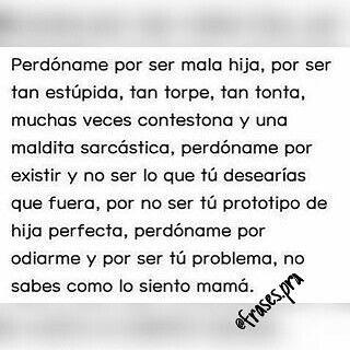 Lo siento por no ser perfecta...