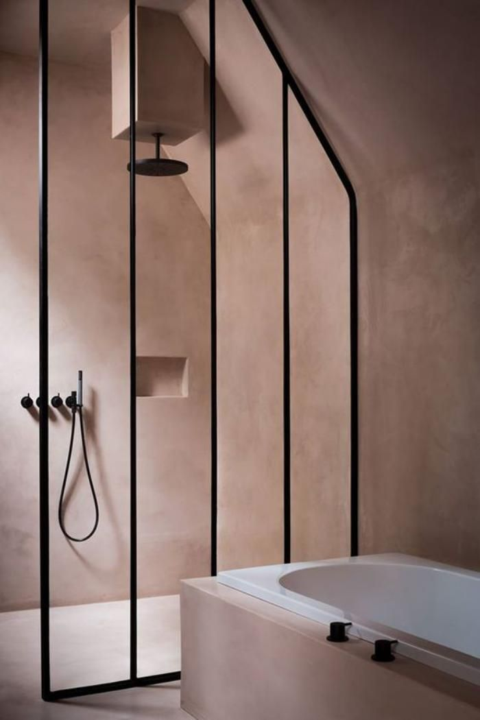 Love this bathroom color. Plaster pink walls.
