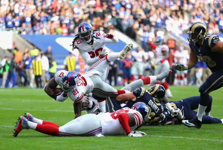 Giants vs. Rams in London:     October 23, 2016  -   17-10, Giants  -  Landon Collins of the New York Giants scores a touchdown during an NFL game between the New York Giants and the Los Angeles Rams at Twickenham Stadium in London, Sunday Oct. 23, 2016.
