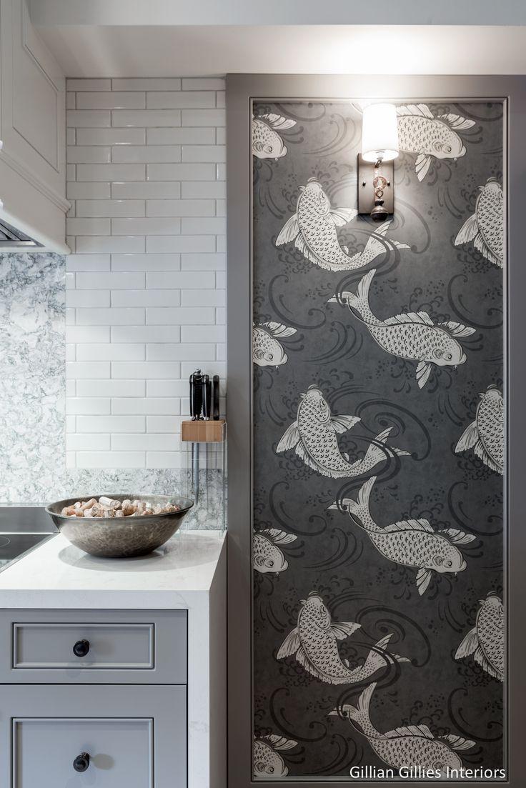 Gillian Gillies Interiors - Toronto - Canada - Interiors - Transitional - Kitchen - Wallpaper - Dream Kitchen - Osborne & Little Koi Wallpaper