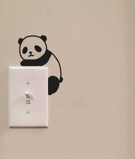 Cute Panda Light Switch Cute Vinyl Wall Decal by imprinteddecals
