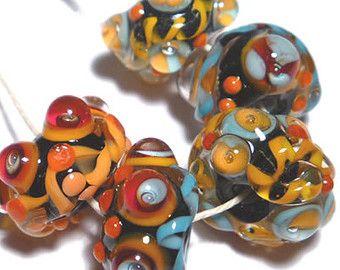 Perline di Murano fatto a mano di MILAGROS - nero corallo turchese arancio rosso vibrante - Set di 5