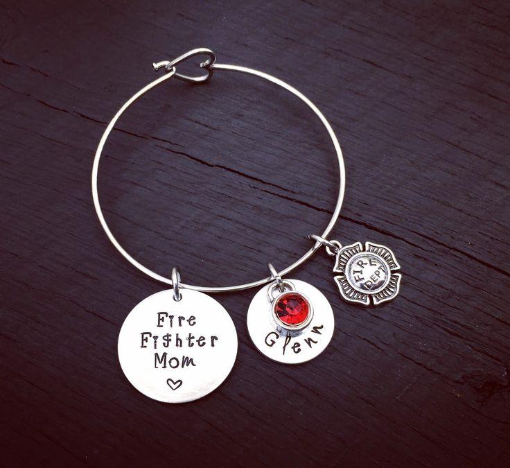 Fire Fighter Mom Bracelet | Fireman's Mom Jewelry | Firefighter Mom Jewelry | Firefighter Mom Bracelet | Gift For Fire Fighter Mom by SecretHillStudio on Etsy https://www.etsy.com/listing/478923294/fire-fighter-mom-bracelet-firemans-mom