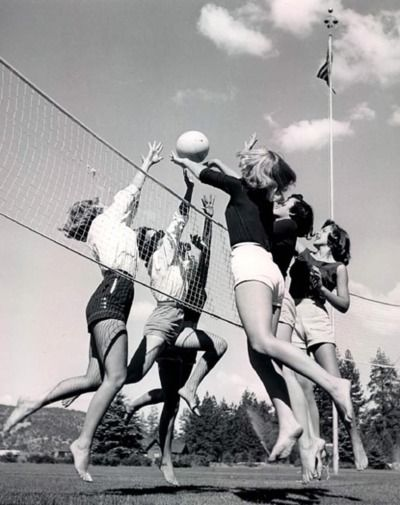 Volleyball...and we didn't have to wear string bikinis like they do now!