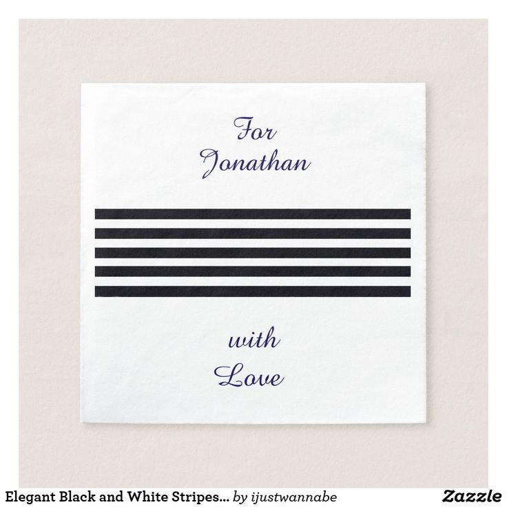 Elegant chic Paper Cocktail Napkins with classic Black and White Stripes and YOUR OWN NAME printed in Navy Blue. Print your own name quickly and easily with name changer. Fast shipping Worldwide. Own these elegant Cocktail Napkins with Black & White stripes and your name for stylish entertaining TODAY! Traditional, modern, rustic or shabby chic Occasions, they all work with these beautiful disposable Cocktail Napkins. *All rights reserved. $46.85