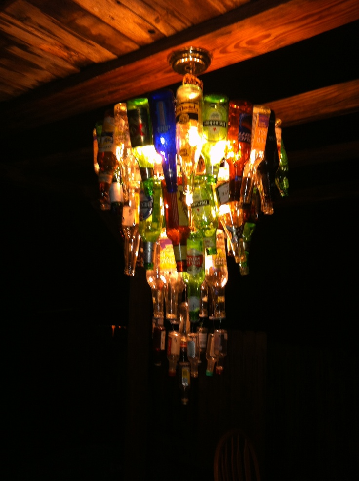 DIY beer bottle chandelier- trying to figure out how to do this...