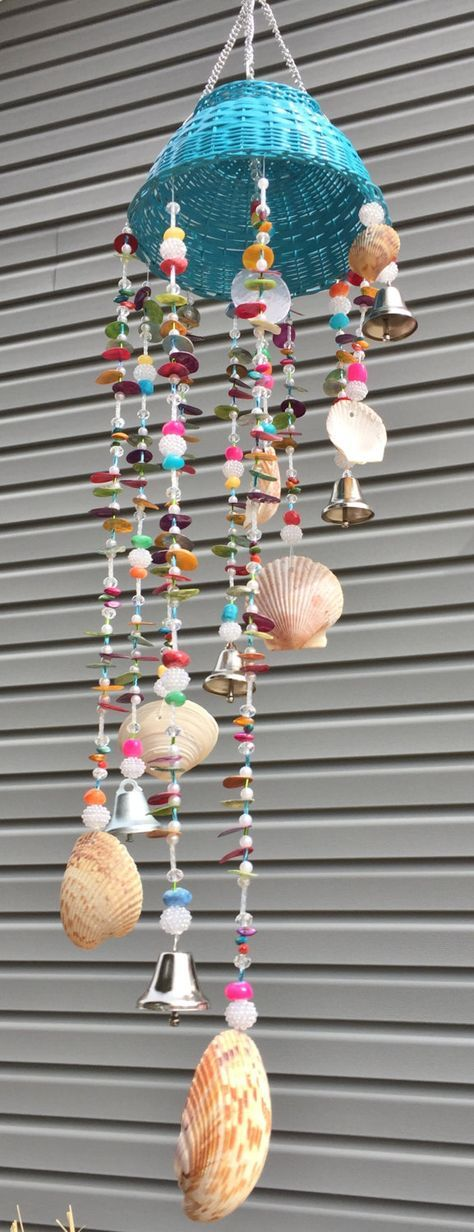 Wind chime, Beaded, unique - Bells and Shells by GardenBlingbyKristin on Etsy