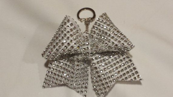 Sparkly Cheer Bow Keychains Solid Bling Ribbon on by BowheadNation