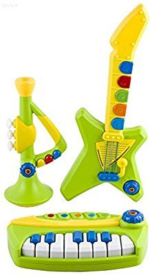 WolVol 3 Piece Band Musical Toy Instruments for Kids - Keyboard, Guitar, Trumpet (All have volume controls)