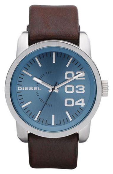 Diesel leather strap watch