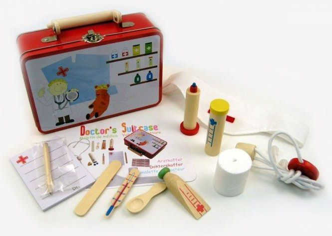 Wooden Medical Kit with Carry Tin - $20 Comes in a tin carry case and some of the pieces are made from sturdy wood and cloth. The set includes one prescription pad, one nurses hat with red cross, 2 bandaids, 1 roll gauze bandage, one stethescope (cord and wood), wooden tongue depressor, wooden tube of ointment, wooden pill bottle, wooden thermometer, wooden spoon, syringe with removable plunger wooden & pencil 3yrs +