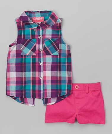 This Fuchsia Plaid Button-Up Tank & Shorts - Infant, Toddler & Girls is perfect! #zulilyfinds