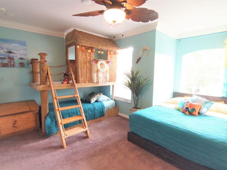 Maui and Moana's Tiki playhouse (twin) & Moana's boat bed  (queen) ocean scene.