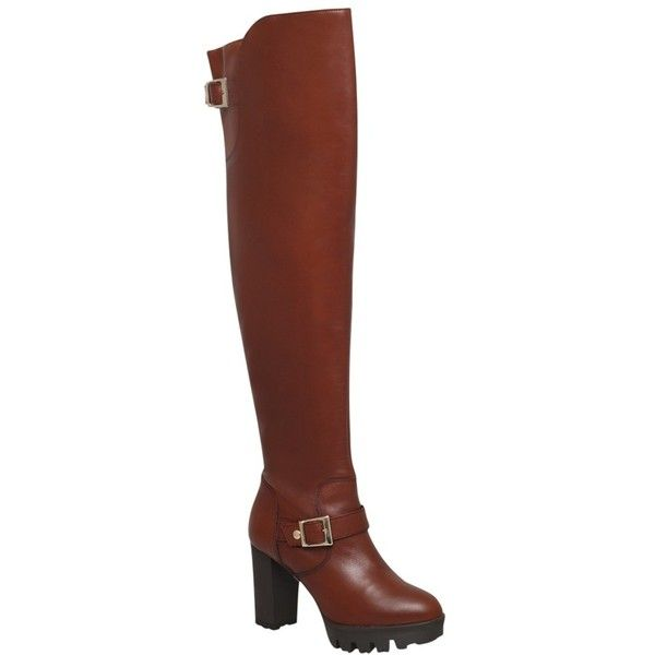 Carvela Walter Over The Knee Boots, Rust Leather ($125) ❤ liked on Polyvore featuring shoes, boots, leather thigh boots, buckle boots, over the knee flat boots, flat leather boots and over knee boots