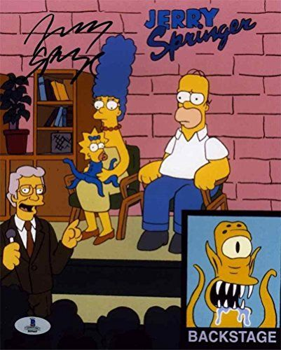 Jerry Springer Simpsons Autographed Signed 8X10 Photo Beckett Bas Coa