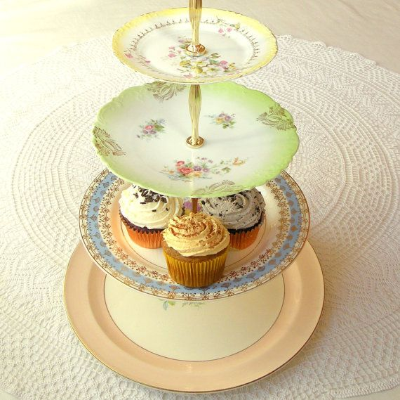 Large 4 Tiered Pastel Tea Tray Display Stand Centerpiece of Vintage Plates in Yellow. Green, Blue & Pink-Peach for Birthday, Wedding, Cake, Macarons, Cookies, Bridal/Baby Shower or Mad Hatter in Wonderland Party by High Tea for Alice