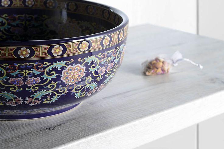 PRIORI keramické umyvadlo, průměr 40,5cm, 15,5cm, fialová s ornamenty, SAPHO E-shop