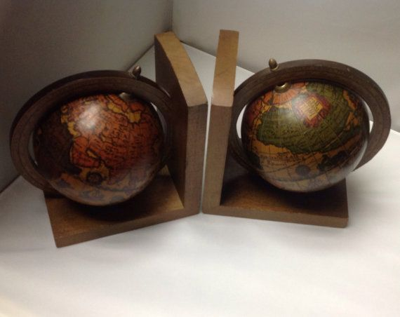 Vintage MidCentury World Globe Bookends Made by SusieQsRetroShop, $15.00