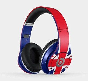 Mr Cameron's headphones were these £329.95 'Limited Edition Studio Wireless' Union Jack design