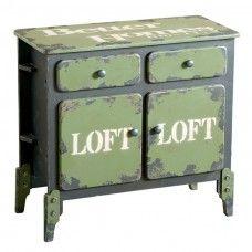 Credenza vintage Dialma Brown DB002520 in stile industrial nero e verde militare a due ante e due cassetti. Ideale per l'arredamento di loft.  Acquistabile su: http://www.garneroarredamenti.com/credenza-db002520-dialma-brown.html?___SID=U
