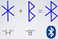Blåtand's name when translated in english stands for Harald Bluetooth. The bluetooth technology was named in honor of this King of the Danes. Now if you observe the runic letters more closely as shown in the figures and take the H and B and fuse them, it gives us the Bluetooth Symbol.