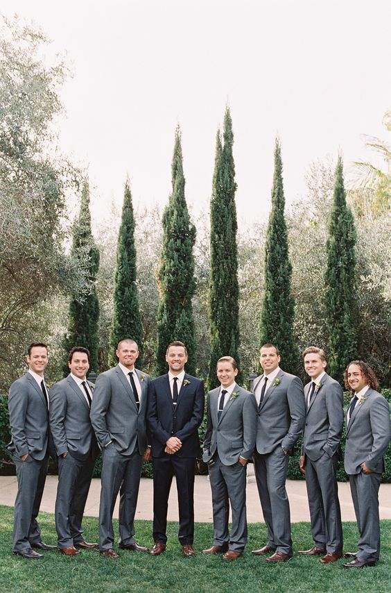 Natural makeup, neutral and pastel bridesmaid dresses and gray groom and groomsmen attire is what's in step for spring.