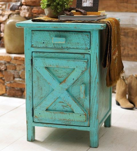 Aqua blue shabby chic distressed little end table by Refresh Restyle