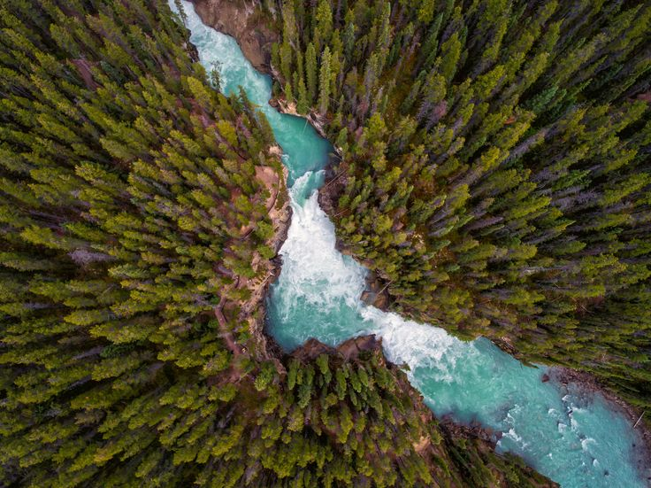 Lower Sunwapta Falls, Jasper National Park - Sunwapta Falls in Jasper National Park, in the Canadian Rockies. The parking lot lets you off at the upper falls, and the 1.2km hike to the lower falls is well worth the effort. As seen from 300 feet up, from a DJI Phantom 4 quadcopter. You can see the video at: https://www.youtube.com/watch?v=AqYsm5s6Obc