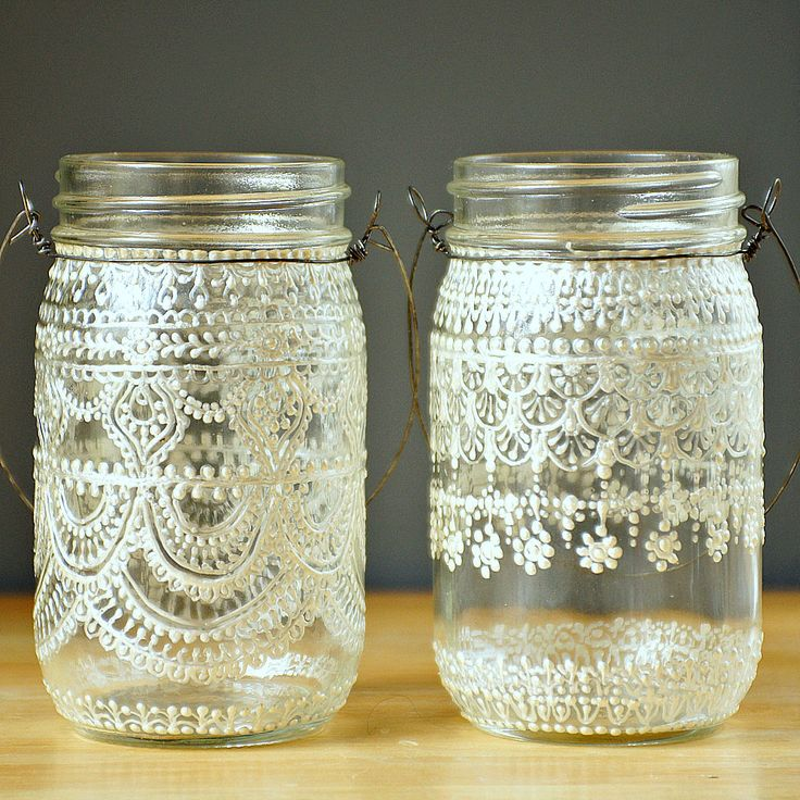 Hand Painted Mason Jar Moroccan Lantern, Henna Inspired Design in White Pearl - on Crystal Clear Glass. $24.00, via Etsy.