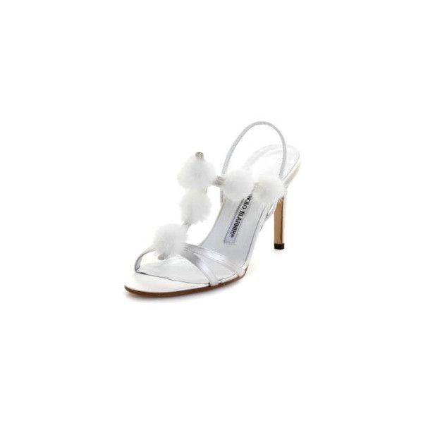 Manolo Blahnik COMPULSA-WHITE-36 Compulsa White Satin High Heel... (9 070 UAH) ❤ liked on Polyvore featuring shoes, sandals, footwear, heels, high heel sandals, white high heel shoes, white shoes, white heel shoes and heeled sandals