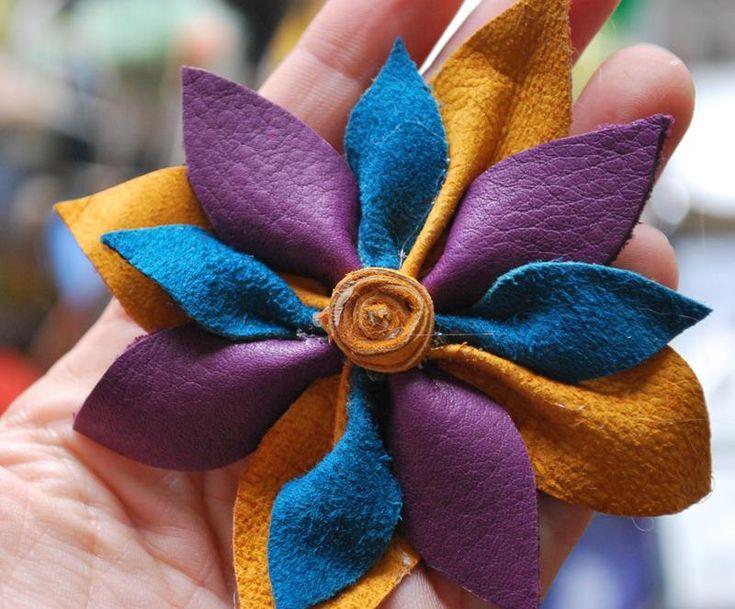 Diy flowers diy crafts diy a leather flower brooch diy for Leather flowers for crafts