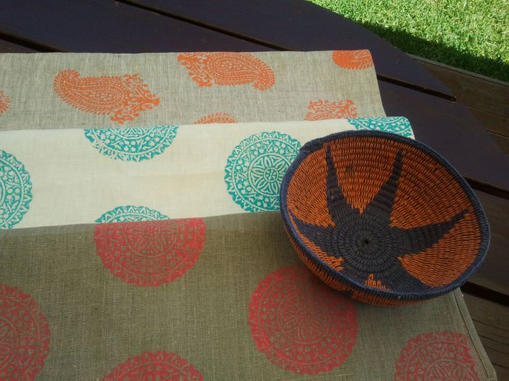 Handblock printed tea towels, designed & printed by me, head to www.shakiraaz.com.au