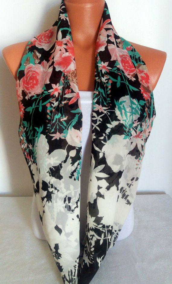 Floral Scarf Silk Chiffon Scarf Multicolor by SuHandmadeStore