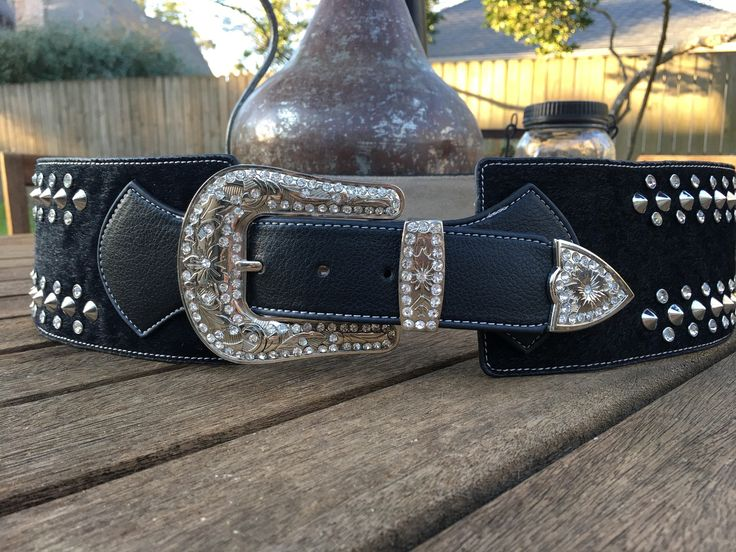Rodeo Wide Bling Belt with Rhinestones and Wing Design ~ Black