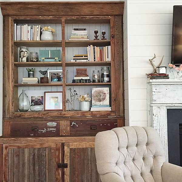 Best 25 farmhouse bookcases ideas on pinterest farm for Kitchen cabinets lowes with wood burning wall art