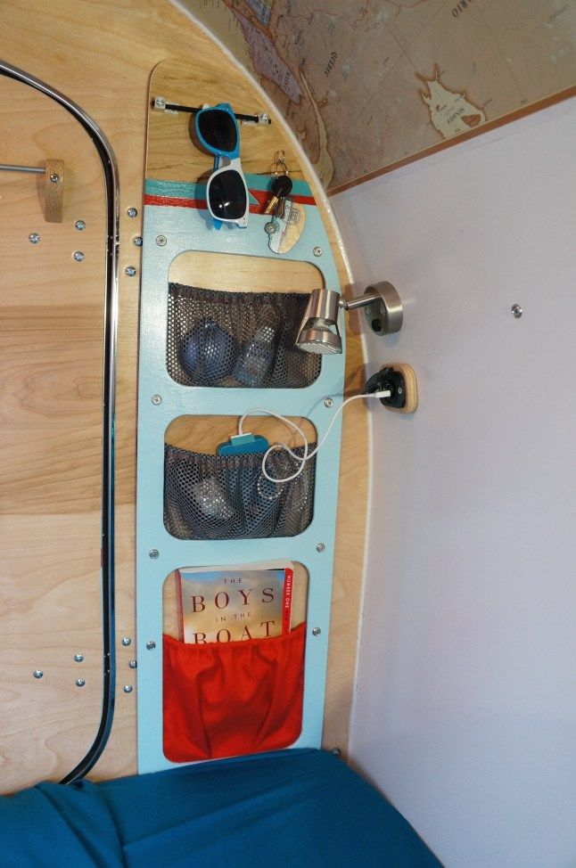 Custom Wall Pocket in a DIY Teardrop Trailer by Homespun Harros