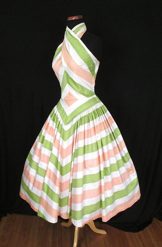 """1950's Designer Cotton Halter New Look Party Summer Cocktail Dress by """"Charella of California"""""""