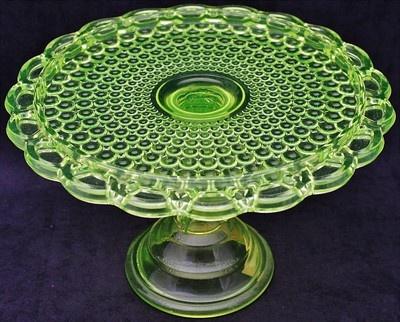 *VASELINE GLASS:  Beautiful Antique, Thousand Eye Pattern Pedestal Cake Plate Stand