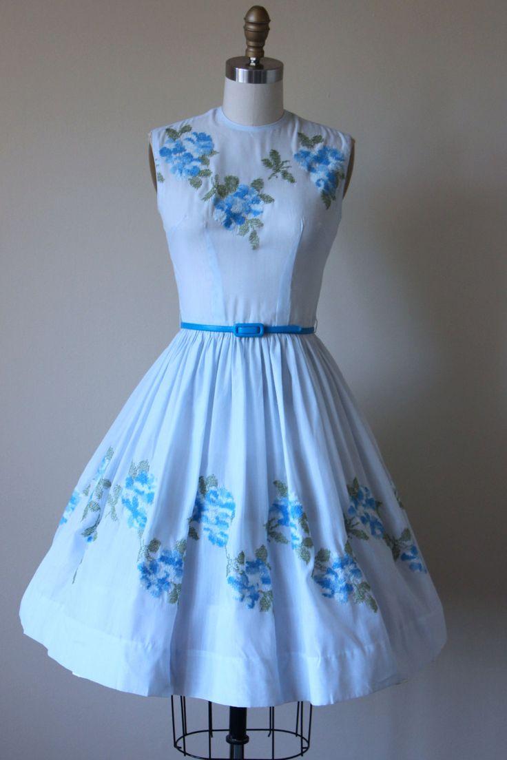 50s Dress Vintage 1950s Dress Blue Rose by jumblelaya on Etsy