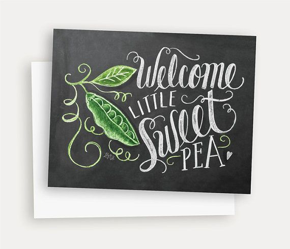 Welcome Baby Card - New Baby Congratulations Card - Sweet Pea Baby Shower Card - Hand Lettering and Illustrations
