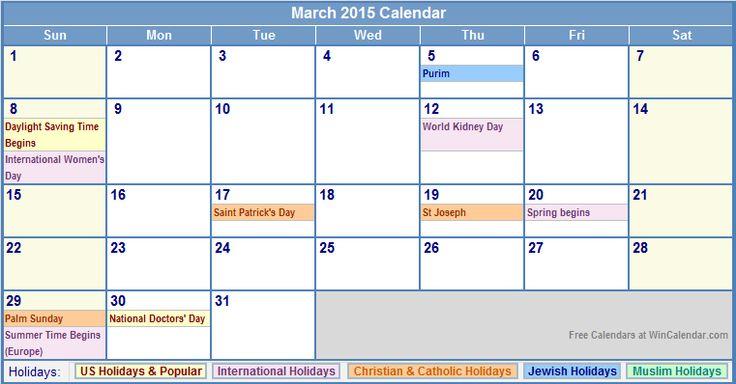 March 2015 Calendar with US, Christian, Jewish, Muslim & Holidays