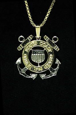 Coast Guard U.S. Military Cut Coin Pendant Necklace $50 plus free shipping