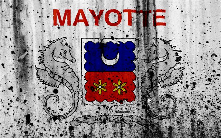 Download wallpapers Mayotte flag, 4k, grunge, flag of Mayotte, Africa, Mayotte, national symbols, Mayotte national flag