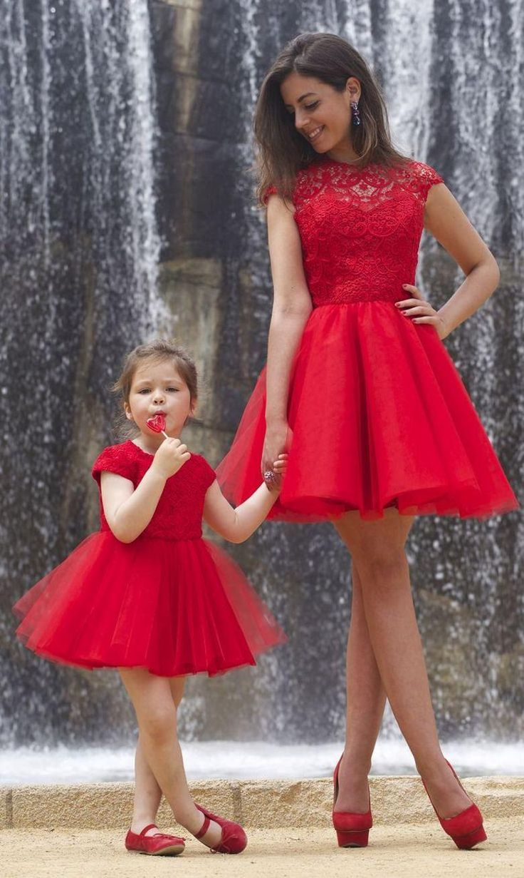 red short mother daughter matching dress 2015 cap sleeves