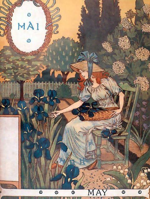 elyssediamond:  La Belle Jardiniere – May Eugène Grasset 1896