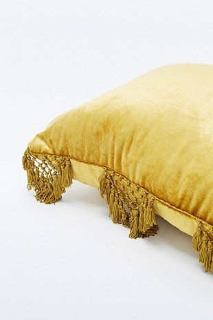 Velvet Fringe Yellow Cushion