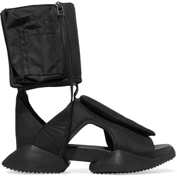 Rick Owens Adidas Cargo cutout shell sandals ($285) ❤ liked on Polyvore featuring shoes, sandals, black, zipper sandals, black velcro shoes, cut out shoes, rubber sole sandals and adidas sandals